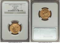 "Victoria gold ""St. George"" Sovereign 1882-S MS62 NGC, Sydney mint, KM7. Admirably struck and revealing only a scattering of light contact.   HID098012..."
