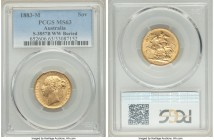 "Victoria gold ""St. George"" Sovereign 1883-M MS63 PCGS, Melbourne mint, KM7, S-3857B. WW buried variety. Minimally marked in the fields with superior d..."