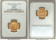 "Victoria gold ""St. George"" Sovereign 1883-M MS62 NGC, Melbourne mint, KM7. Well struck and displaying charmingly sculpted design motifs.   HID09801242..."