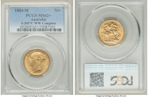 "Victoria gold ""St. George"" Sovereign 1884-M MS62+ PCGS, Melbourne mint, KM7, S-3857C. W.W. complete. A glowing Sovereign revealing only a couple of re..."