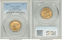 "Victoria gold ""St. George"" Sovereign 1884-S MS62 PCGS, Sydney mint, KM7, S-3858E. AGW 0.2355 oz.   HID09801242017  © 2020 Heritage Auctions 