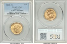 "Victoria gold ""St. George"" Sovereign 1885-M MS63 PCGS, Melbourne mint, KM7, S-3857C. Small BP variety. AGW 0.2355 oz.   HID09801242017  © 2020 Heritag..."
