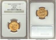 "Victoria gold ""St. George"" Sovereign 1885-M MS62 NGC, Melbourne mint, KM7. Impressively struck and dressed in opulent harvest gold brilliance.   HID09..."