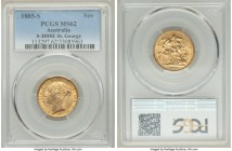 "Victoria gold ""St. George"" Sovereign 1885-S MS62 PCGS, Sydney mint, KM7. Light friction establishes the grade, the outer registers framed in undisturb..."