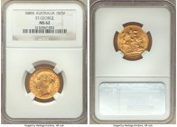 "Victoria gold ""St. George"" Sovereign 1885-S MS62 NGC, Sydney mint, KM7. Precisely rendered, yielding clear definition to the design motifs.   HID09801..."