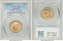 "Victoria gold ""St. George"" Sovereign 1886-M MS63 PCGS, Melbourne mint, KM7, S-3857C. More difficult preservation for Victoria's Young Head gold, with ..."