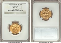 "Victoria gold ""St. George"" Sovereign 1886-M MS62 NGC, Melbourne mint, KM7. AGW 0.2355 oz.   HID09801242017  © 2020 Heritage Auctions 
