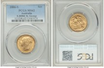 "Victoria gold ""St. George"" Sovereign 1886-S MS62 PCGS, Sydney mint, KM7, S-3858E. AGW 0.2355 oz.   HID09801242017  © 2020 Heritage Auctions 