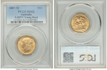 "Victoria gold ""St. George"" Sovereign 1887-M MS62 PCGS, Melbourne mint, KM7, S-3857C. Featuring a near-complete strike complemented by soft satin brill..."
