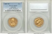 "Victoria gold ""Jubilee Head"" Sovereign 1887-M MS62 PCGS, Melbourne mint, KM10, S-3867. Hooked J variety. A commendable example showing only a near-imp..."