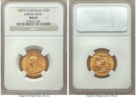 "Victoria gold ""Jubilee Head"" Sovereign 1887-M MS62 NGC, Melbourne mint, KM10. Near choice, with strong peripheral elements and ample luster.   HID0980..."