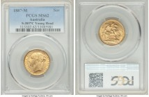 "Victoria gold ""Young Head/St. George"" Sovereign 1887-M MS62 PCGS, Melbourne mint, KM7, S-3857C. The final year for Victoria's Young Head portrait, and..."