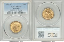 "Victoria gold ""St. George"" Sovereign 1887-S MS62+ PCGS, Sydney mint, KM7, S-3858E. A frosty and highly collectible representative edging on choice pre..."