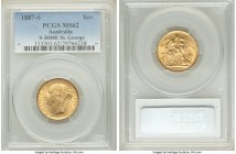 "Victoria gold ""St. George"" Sovereign 1887-S MS62 PCGS, Sydney mint, KM7. AGW 0.2355 oz.   HID09801242017  © 2020 Heritage Auctions 