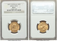 "Victoria gold ""Jubilee Head"" Sovereign 1887-S MS61 NGC, Sydney mint, KM10. The highly collectible first year for this Jubilee Head type, appearing qui..."