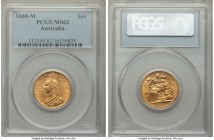Victoria gold Sovereign 1888-M MS62 PCGS, Melbourne mint, KM10. Captivatingly lustrous with noticeably fewer of the usual contact marks that plague th...