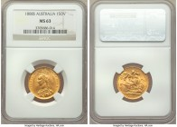Victoria gold Sovereign 1888-S MS63 NGC, Sydney mint, KM10. Displaying a commanding strike, resulting in impressive definition to even the highest poi...