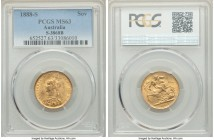 Victoria gold Sovereign 1888-S MS63 PCGS, Sydney mint, KM10, S-3868B. Virtually unsurpassed in the certified population, we have offered only one MS64...