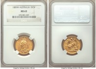 Victoria gold Sovereign 1889-M MS63 NGC, Melbourne mint, KM10. Brilliant, with inspiring detail displayed to even the smallest features and royal orna...