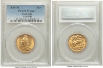 Victoria gold Sovereign 1889-M MS62+ PCGS, Melbourne mint, KM10, S-3867B. AGW 0.2355 oz.   HID09801242017  © 2020 Heritage Auctions | All Rights Reser...