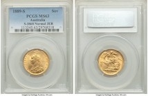 "Victoria gold Sovereign 1889-S MS63 PCGS, Sydney mint, KM10. Normal ""J.E.B."" variety. Clearly struck and displaying fully choice preservation.   HID09..."