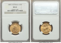 Victoria gold Sovereign 1889-S MS62 NGC, Sydney mint, KM10. AGW 0.2355 oz.   HID09801242017  © 2020 Heritage Auctions | All Rights Reserve