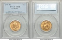 Victoria gold Sovereign 1890-M MS61 PCGS, Melbourne mint, KM10. AGW 0.2355 oz.   HID09801242017  © 2020 Heritage Auctions | All Rights Reserve