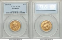 Victoria gold Sovereign 1890-M MS60 PCGS, Melbourne mint, KM10. AGW 0.2355 oz.   HID09801242017  © 2020 Heritage Auctions | All Rights Reserve