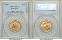 Victoria gold Sovereign 1890-S MS63 PCGS, Sydney mint, KM10. A more difficult issue to obtain in choice condition, with only a small number of certifi...