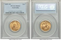 Victoria gold Sovereign 1891-M MS62 PCGS, Melbourne mint, KM10. Tied for the second finest of this date and mint certified across both NGC and PCGS. A...