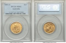 Victoria gold Sovereign 1891-S MS61 PCGS, Sydney mint, KM10. AGW 0.2355 oz.   HID09801242017  © 2020 Heritage Auctions | All Rights Reserve