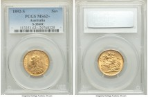 Victoria gold Sovereign 1892-S MS62+ PCGS Sydney mint, KM10, S-3868C. AGW 0.2355 oz.   HID09801242017  © 2020 Heritage Auctions | All Rights Reserve