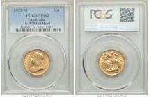 Victoria gold Sovereign 1893-M MS62 PCGS, Melbourne mint, KM13, S-3875. Old/Veiled Head type. A contested type rarely found in better states of mint c...