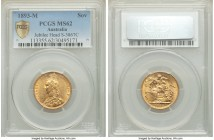 Victoria gold Sovereign 1893-M MS62 PCGS, Melbourne mint, KM10. Conditionally speaking, a more difficult issue in the series, with only two examples c...