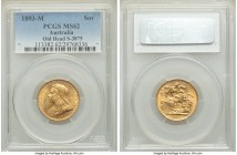 "Victoria gold ""Veiled Head"" Sovereign 1893-M MS62 PCGS, Melbourne mint, KM13, S-3875. Veiled/Old Head type. The first year for the type which witnesse..."