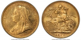 "Victoria gold ""Veiled Head"" Sovereign 1893-S MS62 PCGS, Sydney mint, KM13, S-3877. Veiled/Old Head type. AGW 0.2355 oz.   HID09801242017  © 2020 Herit..."