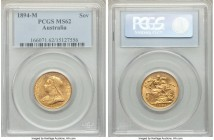 Victoria gold Sovereign 1894-M MS62 PCGS, Melbourne mint, KM13. AGW 0.2355 oz.   HID09801242017  © 2020 Heritage Auctions | All Rights Reserve