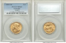 Victoria gold Sovereign 1895-M MS63 PCGS, Melbourne mint, KM13. AWG 0.2355 oz.   HID09801242017  © 2020 Heritage Auctions | All Rights Reserve