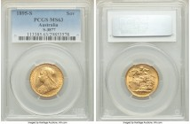 Victoria gold Sovereign 1895-S MS63 PCGS, Sydney mint, KM13, S-3877. Well-executed and preserving plentiful satin texture.   HID09801242017  © 2020 He...
