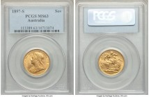 Victoria gold Sovereign 1897-S MS63 PCGS, Sydney mint, KM13. Tied for the technical finest certified across both major grading services, this remarkab...