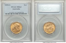 Victoria gold Sovereign 1898-S MS63 PCGS, Sydney mint, KM13. The third lowest date-mint combination in the Australian Veiled Head series, and a true c...