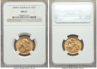 Victoria gold Sovereign 1899-M MS63 NGC, Melbourne mint, KM13. AGW 0.2355 oz.   HID09801242017  © 2020 Heritage Auctions | All Rights Reserve