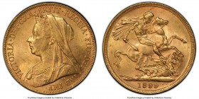 Victoria gold Sovereign 1899-M MS63 PCGS, Melbourne mint, KM13. AGW 0.2355 oz.   HID09801242017  © 2020 Heritage Auctions | All Rights Reserve
