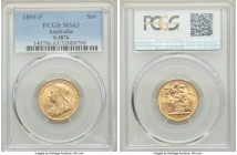 Victoria gold Sovereign 1899-P MS63 PCGS, Perth mint, KM13, S-3876. The scarcest date for the type and one which saw only 690,000 struck in total, thi...