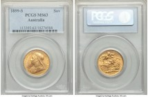 Victoria gold Sovereign 1899-S MS63 PCGS, Sydney mint, KM13. Bordering on fully struck and displaying touches of amber golden tone.   HID09801242017  ...