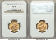 Victoria gold Sovereign 1900-M MS63 NGC, Melbourne mint, KM13. Among the finest of this mint-date certified, only three examples seen by PCGS certifyi...