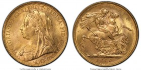 Victoria gold Sovereign 1900-M MS63 PCGS, Melbourne mint, KM13. A luminous example, struck at the turn of the century and revealing ample golden frost...
