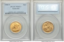 Victoria gold Sovereign gold 1900-S MS62+ PCGS, Sydney mint, KM13. Bordering on choice and marked by flares of rich golden tone.   HID09801242017  © 2...