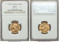 Victoria gold Sovereign 1901-M MS63 NGC, Melbourne mint, KM13. The second highest grade within the NGC and PCGS census reports out of nearly 300 certi...