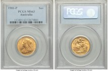 Victoria gold Sovereign 1901-P MS63 PCGS, Perth mint, KM13. Certified as the second finest across NGC and PCGS combined, and resplendent with cartwhee...